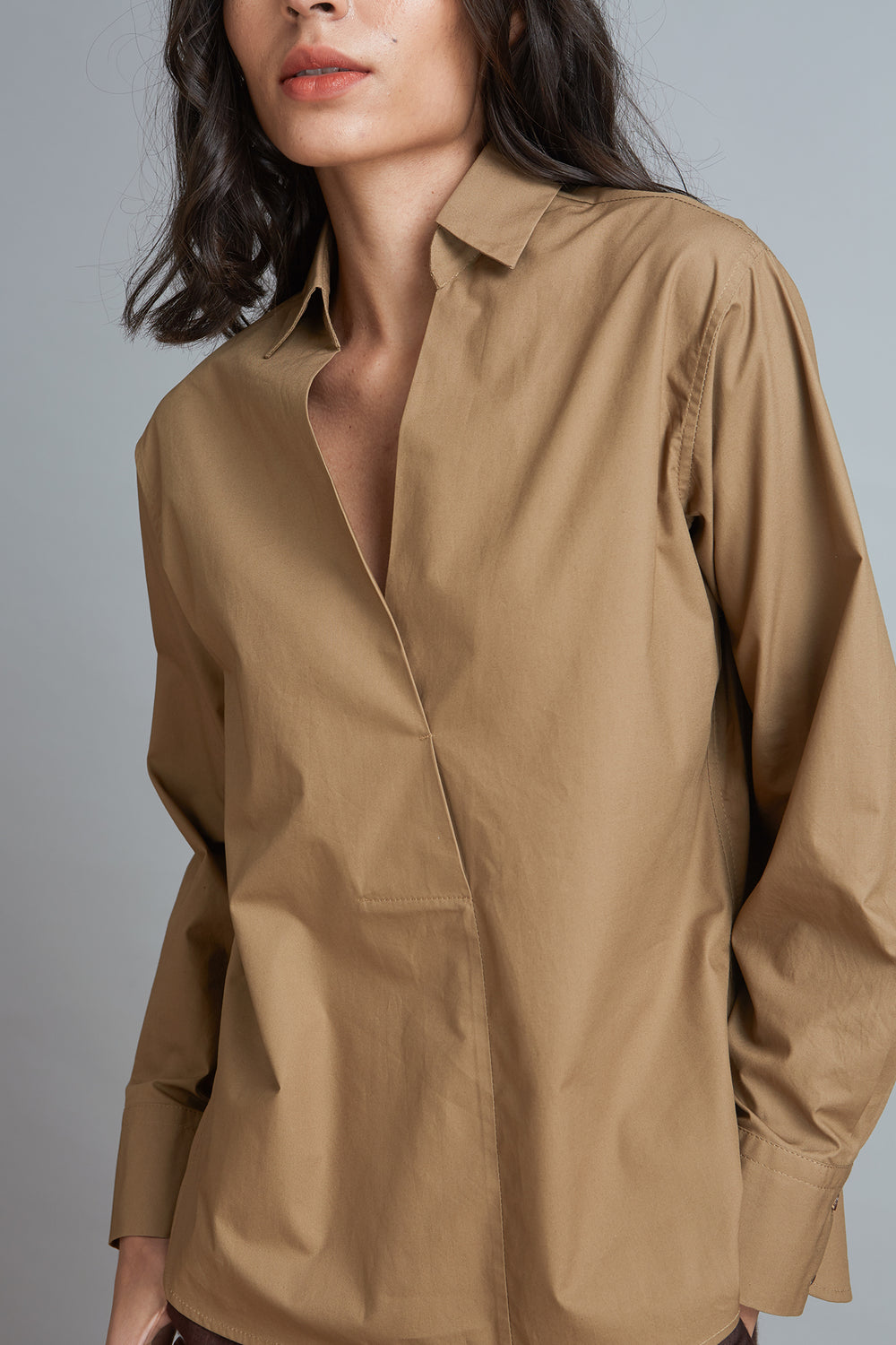 Pleat Front Cotton Shirt