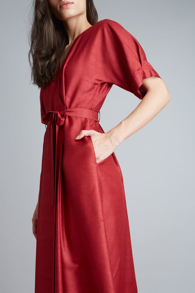 Belted Wrap Cotton Silk Dress