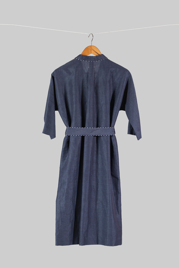 Notch Collar Kimono Dress