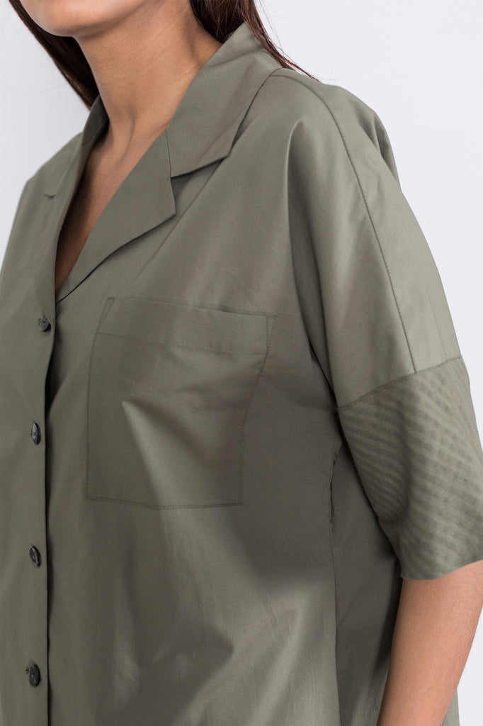 Notch Collar Shirtdress