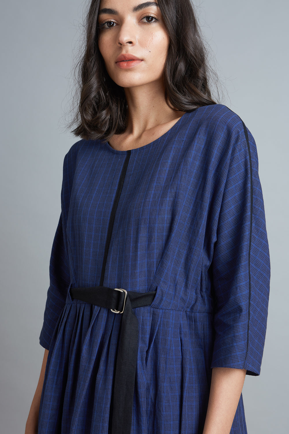 Pleated Dolman Dress - Checks