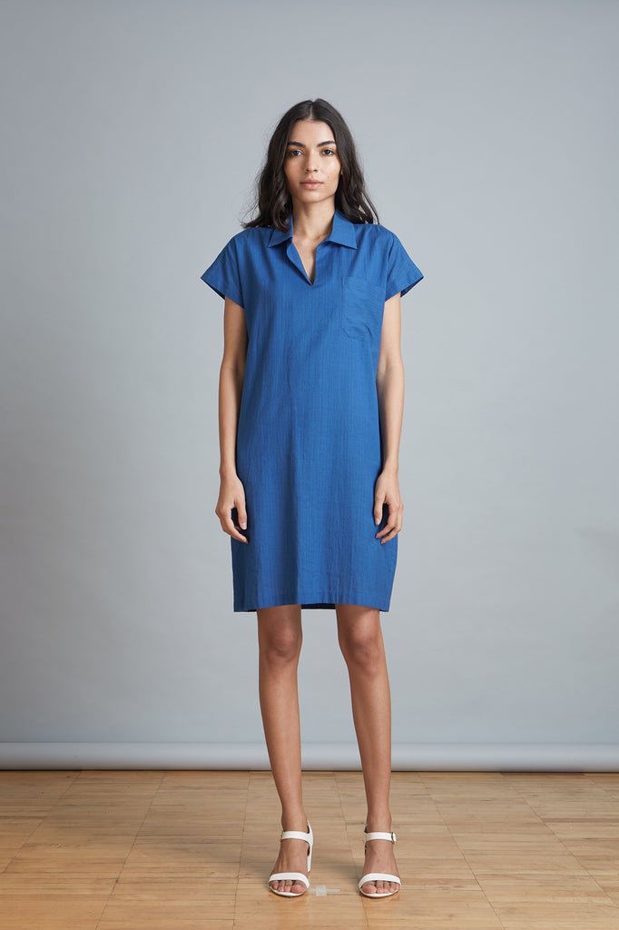 Blue Popover Shift Dress