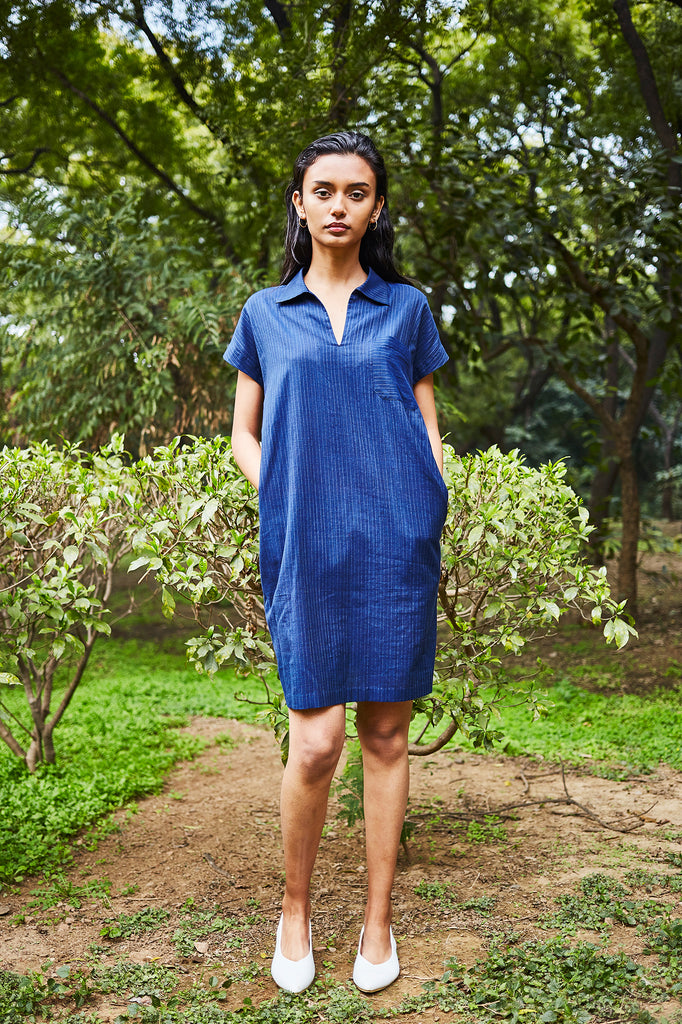 Navy Popover Shift Dress
