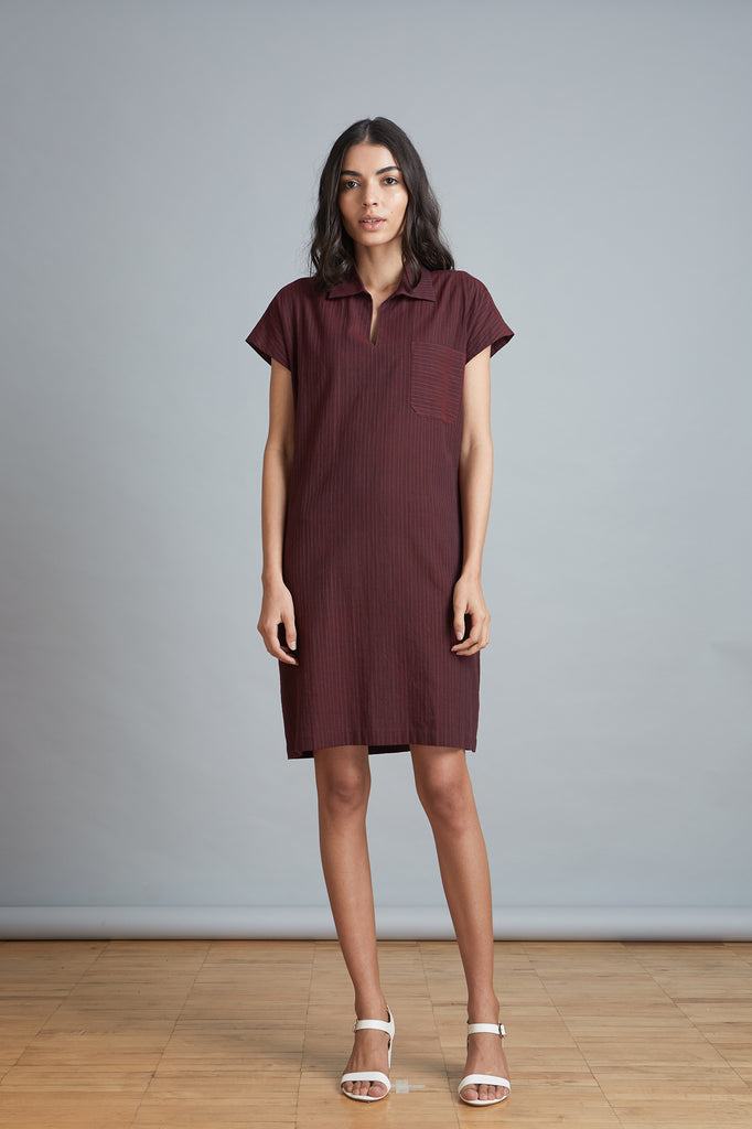 Burgundy Popover Shift Dress
