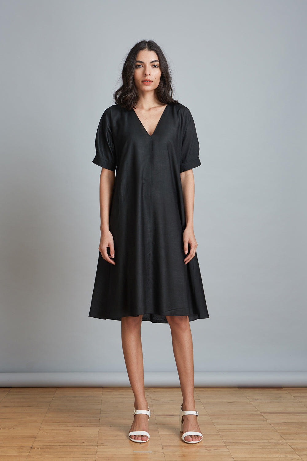 Flared Cotton Silk Dress