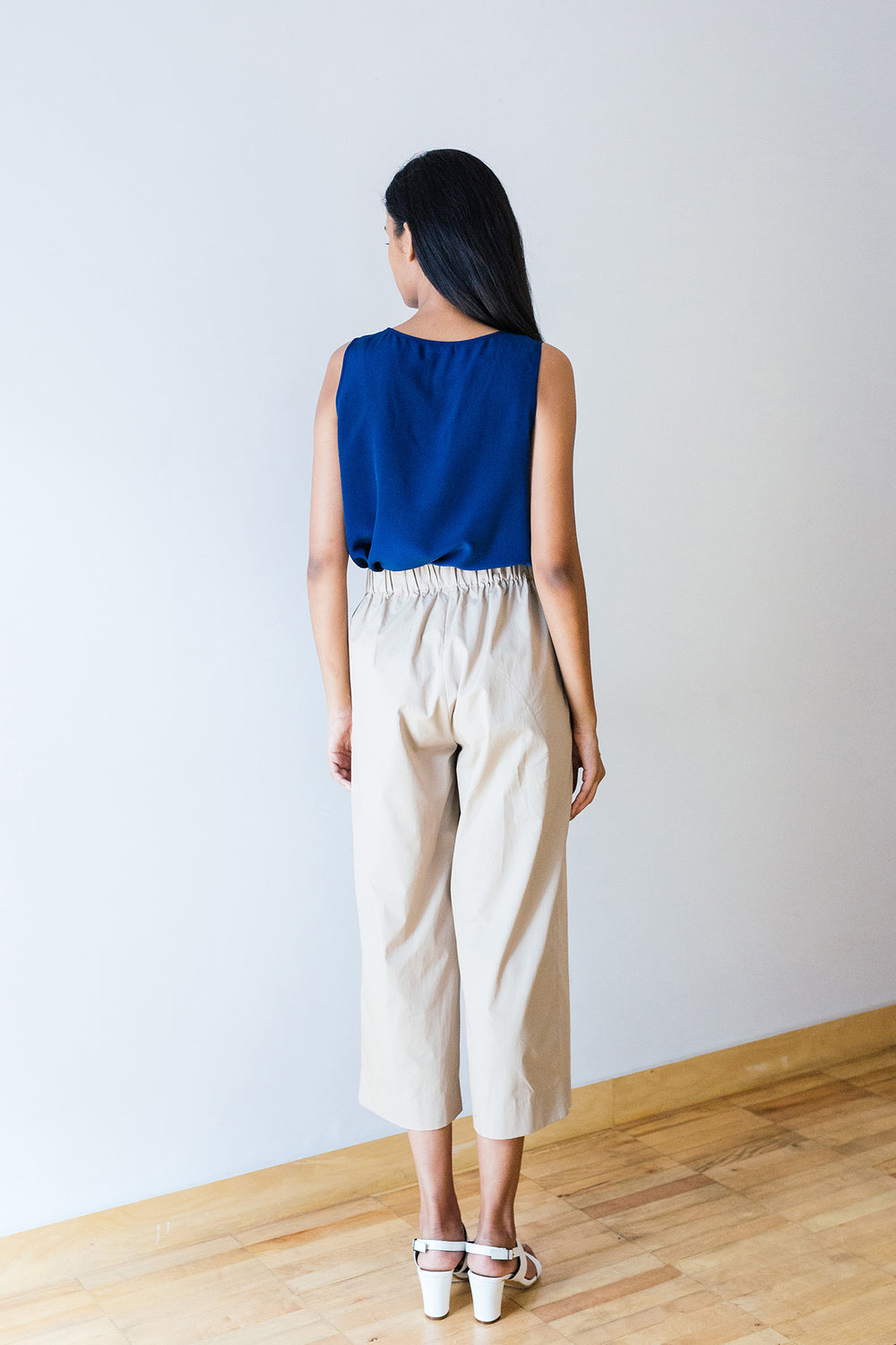 Flared Single Pleat Cotton Pant