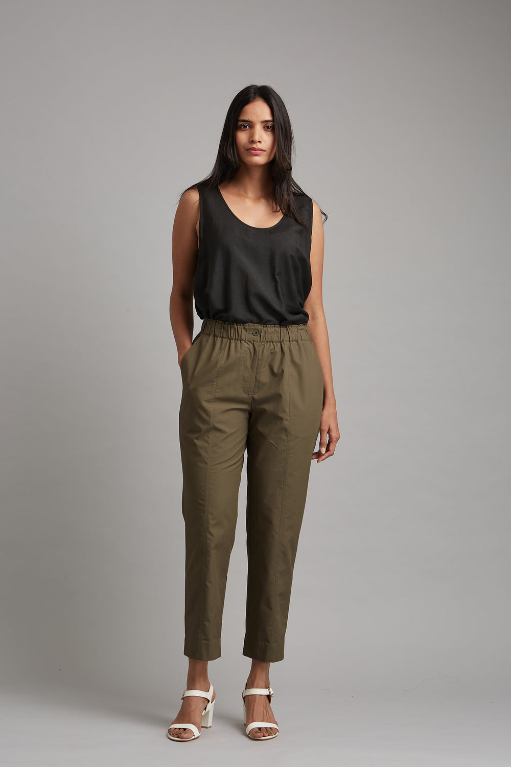 Cotton Linen Tapered Trousers