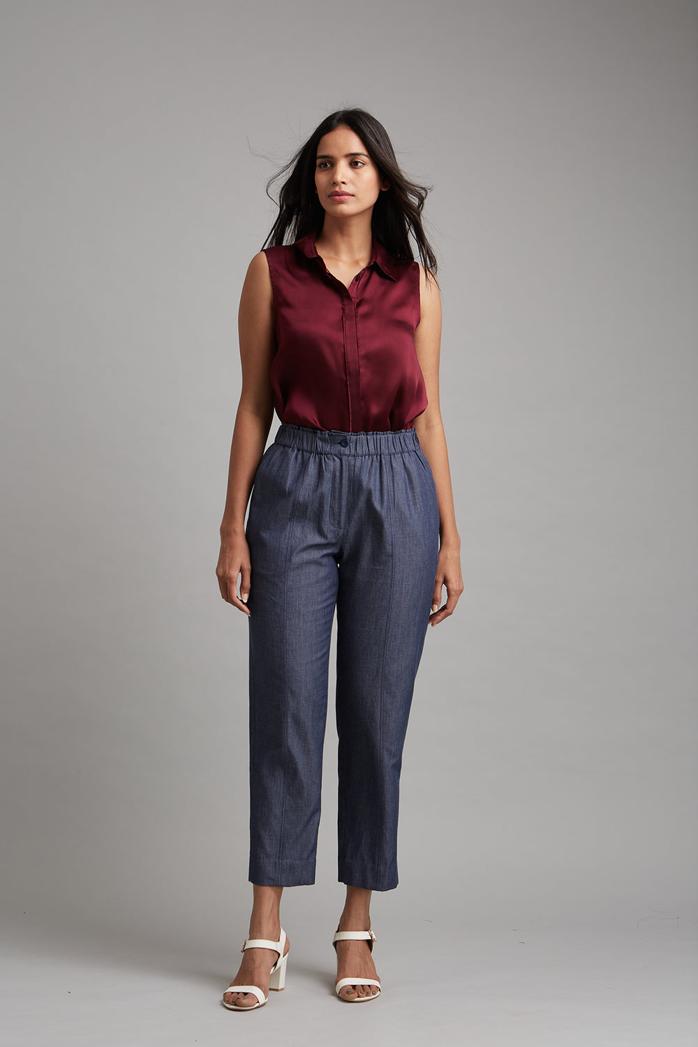 Chambray Tapered Trousers