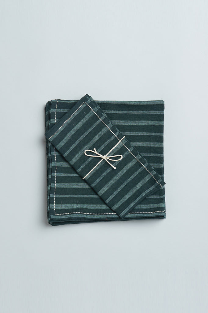 Handwoven Cotton Napkins - Green Stripes