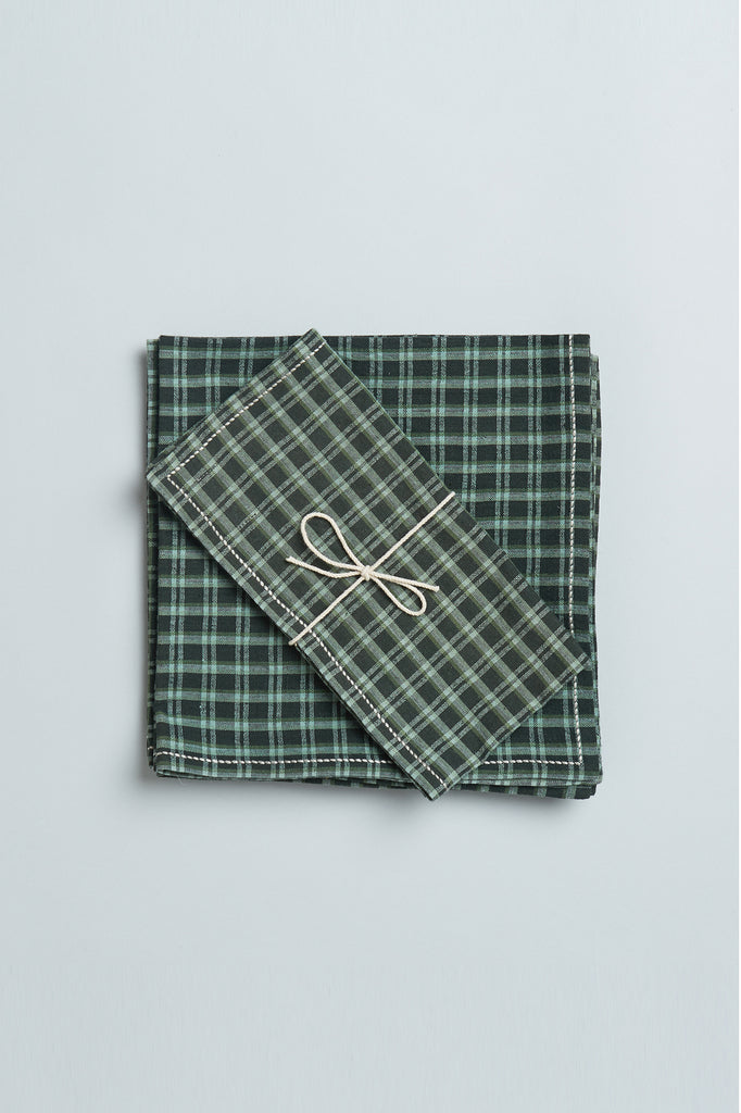 Handwoven Cotton Napkins - Green Checks
