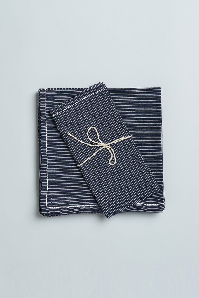 Handwoven Cotton Napkins - Navy Pinstripe