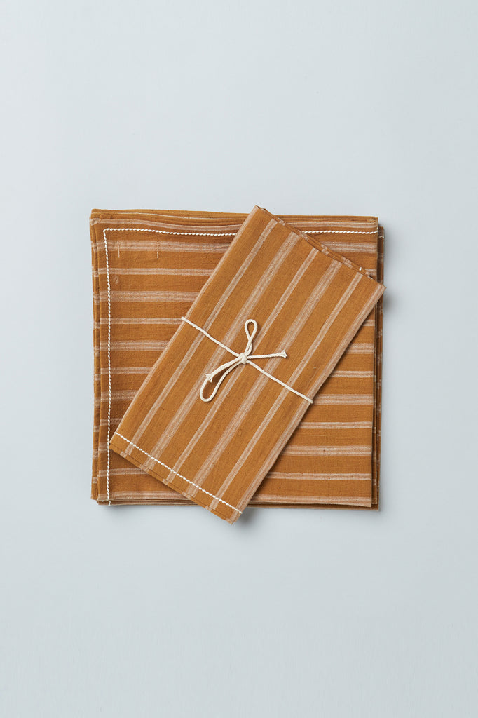 Handwoven Cotton Napkins - Beige Stripe