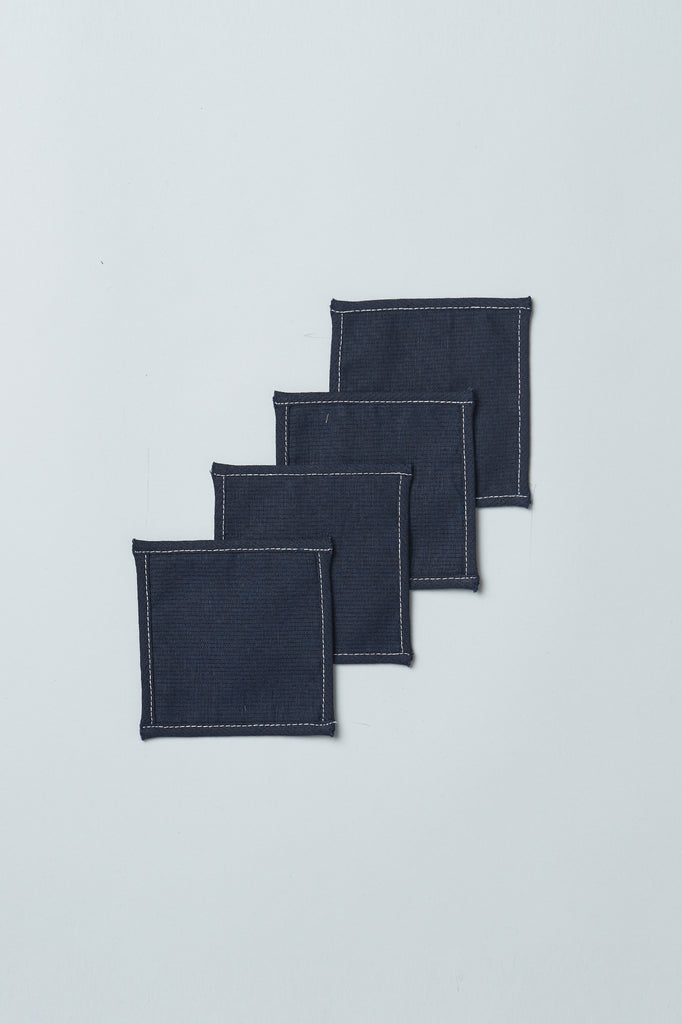 Cotton Linen Upcycled Coasters (Set of 4)