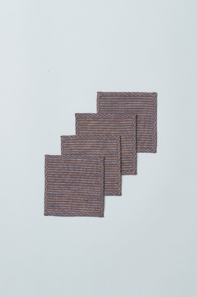 Handwoven Upcycled Coasters (Set of 4) - Stripes