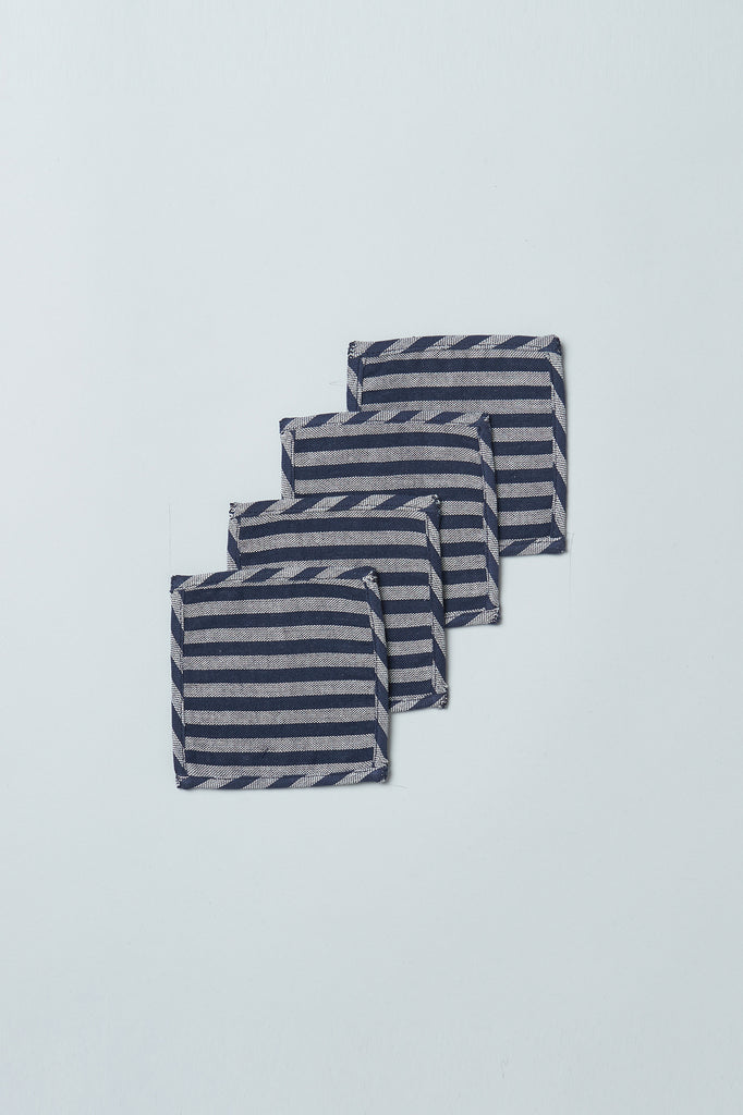Handwoven Upcycled Coasters (Set of 4) - Navy Stripe