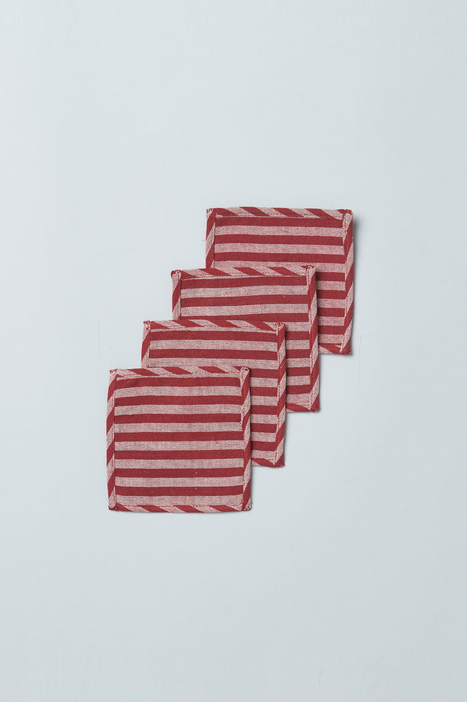 Handwoven Upcycled Coasters (Set of 4) - Red Stripe