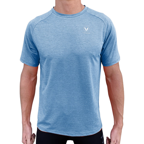 Mens UV Performance Tech Tee- Heather Blue