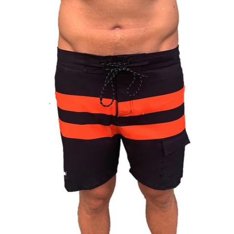 VAIKOBI PADDLE BOARD SHORTS - BLACK/ ORANGE