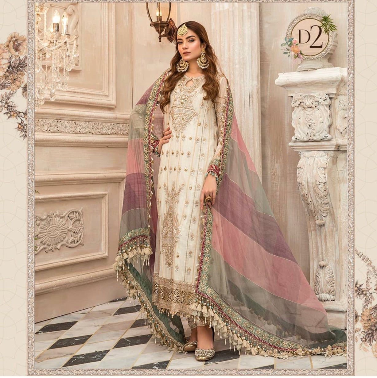 Maria B Eid embroidered 2020 Hit design D2 white pink suit