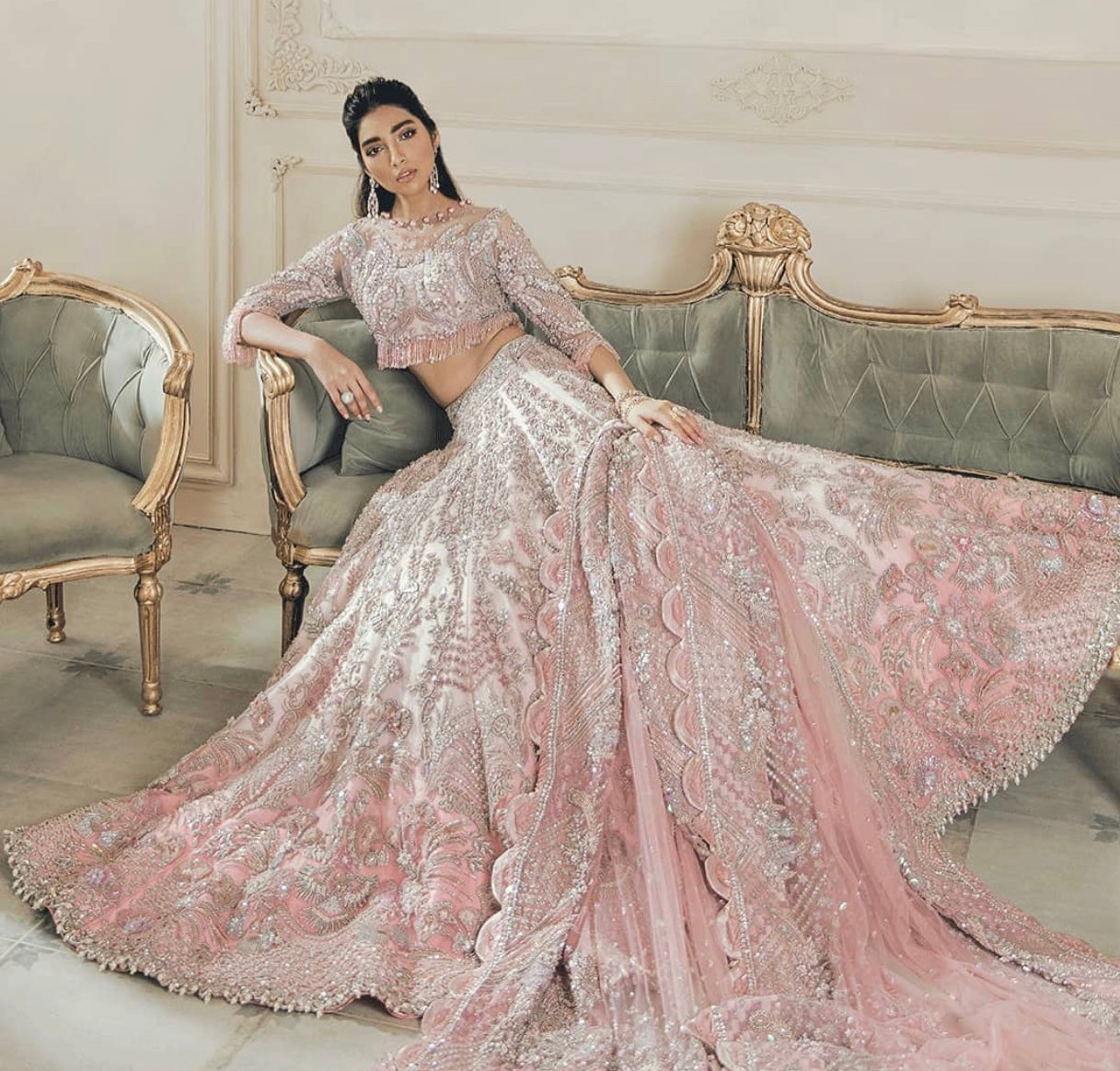 Elan Pakistani designer wedding lehenga choli UK at Lebaasonline