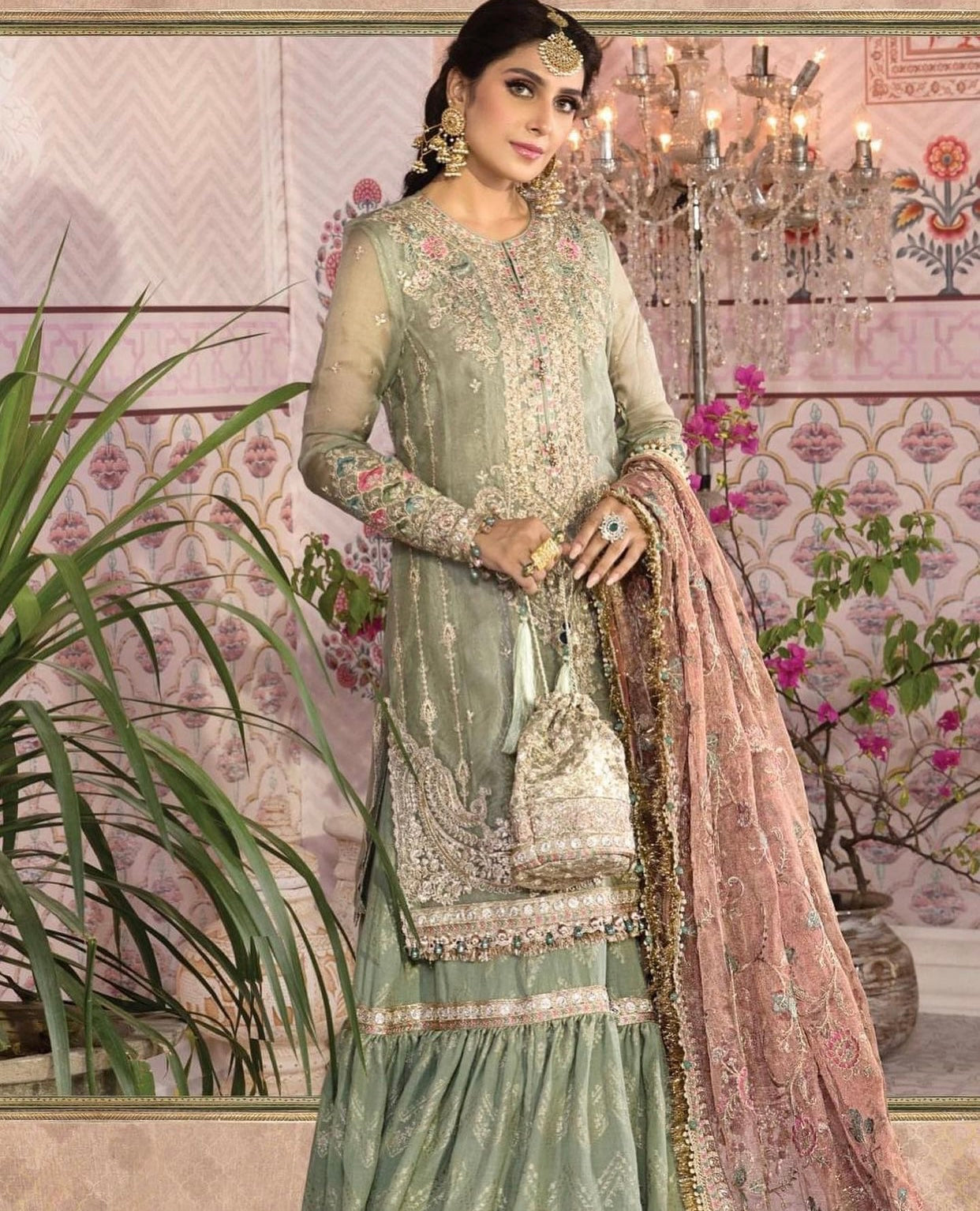 Maria B Chiffon Mbroidered Collection 2021 Pistachio & Salmon Pink BD-2205 Sharara suit