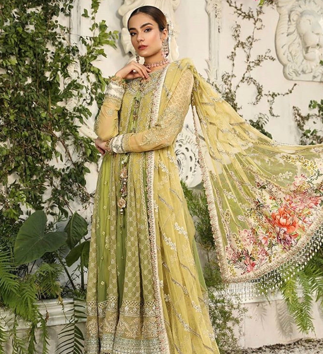 Maria b green suit for Eid 2020