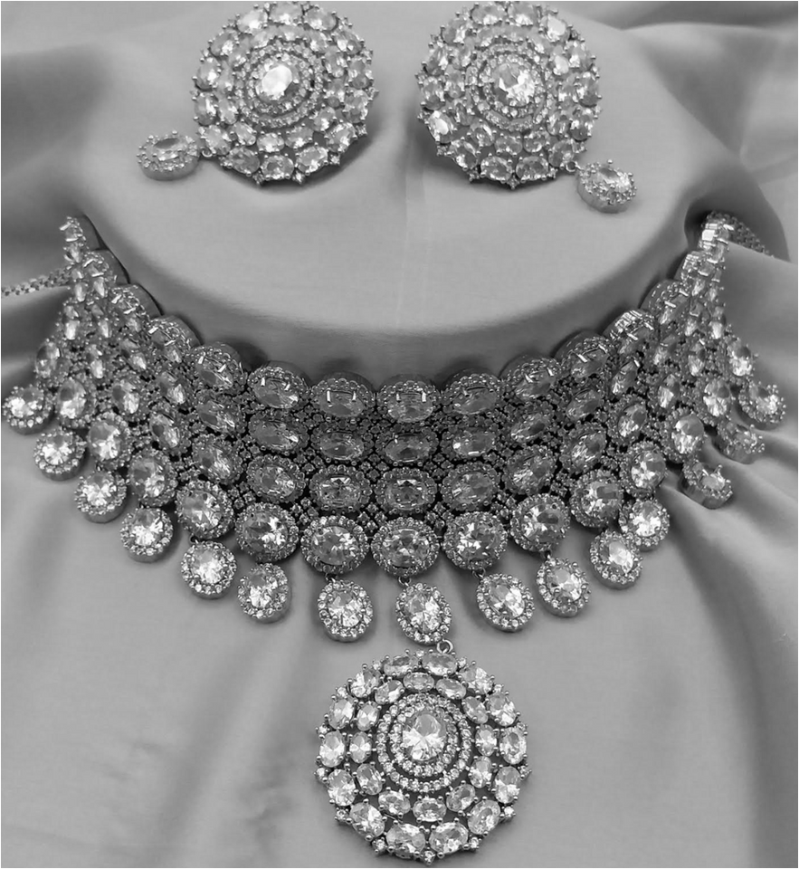 American Diamond Jewellery Amanii Jewelry Collection Crystals Necklace Earring Mang Tikka Sets Chokers