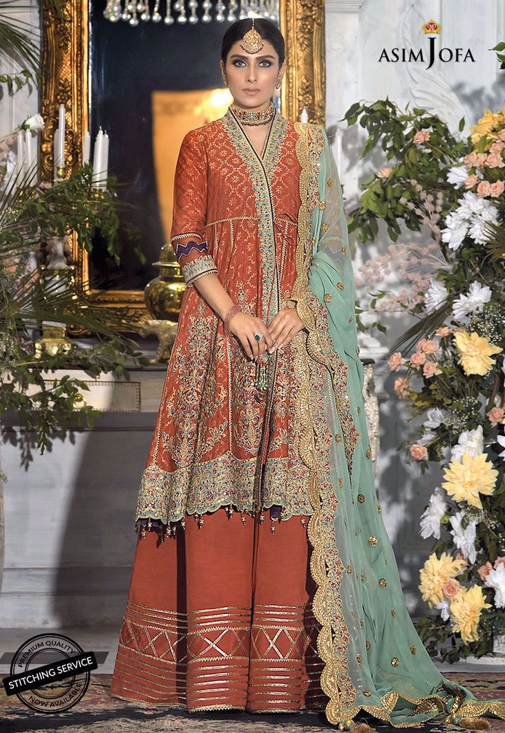 Buy ASIM JOFA MAHSA FESTIVE COLLECTION | AJMC-09 Rust Pakistani Chiffon Wedding collection exclusively from lebaasonline website We are largest stockists of Asim Jofa Collection 2021 Maria B & Pakistani Celebrities Clothes Pakistani Branded designer suits UK are available online in the UK USA Scotland London New York