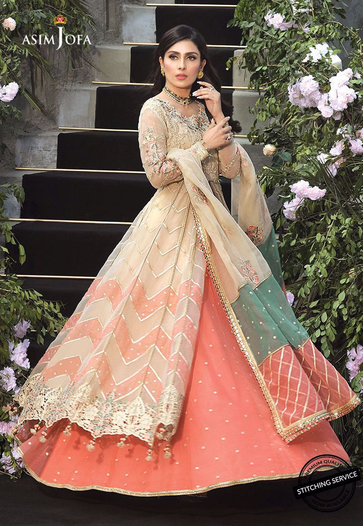 Buy ASIM JOFA MAHSA FESTIVE COLLECTION | AJMC-08 Ivory Pakistani Chiffon Wedding collection exclusively from lebaasonline website We are largest stockists of Asim Jofa Collection 2021 Maria B & Pakistani Celebrities Clothes Pakistani Branded designer suits UK are available online in the UK USA Scotland London New York