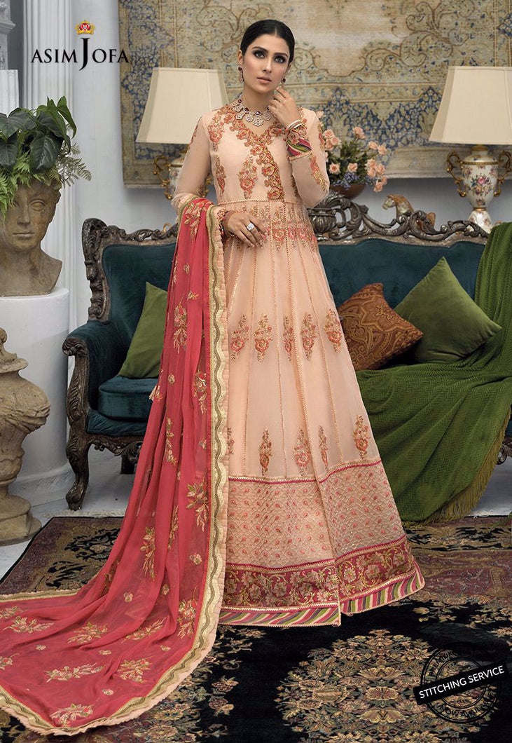 Buy ASIM JOFA MAHSA FESTIVE COLLECTION | AJMC-05 Peach Pakistani Chiffon Wedding dresses exclusively from lebaasonline website We are largest stockists of Asim Jofa Collection 2021 Maria B Gulal & Pakistani Celebrities Clothes Pakistani Branded designer suits are available online in the UK USA Scotland London New York