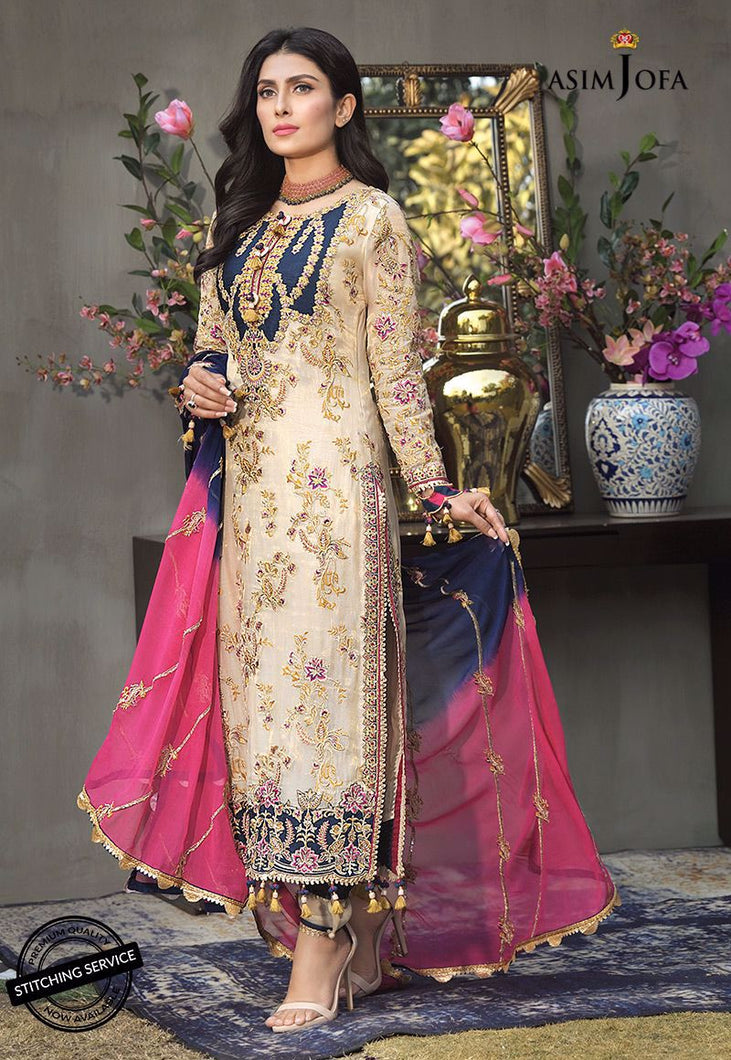 Buy ASIM JOFA MAHSA FESTIVE COLLECTION | AJMC-04 Ivory Pakistani Chiffon Wedding dresses exclusively from lebaasonline website. We are largest stockists of Asim Jofa Collection 2021 Maria B Sobia Nazir & Pakistani Celebrities Clothes Pakistani Branded suits are available online in the UK USA Scotland, London & New York