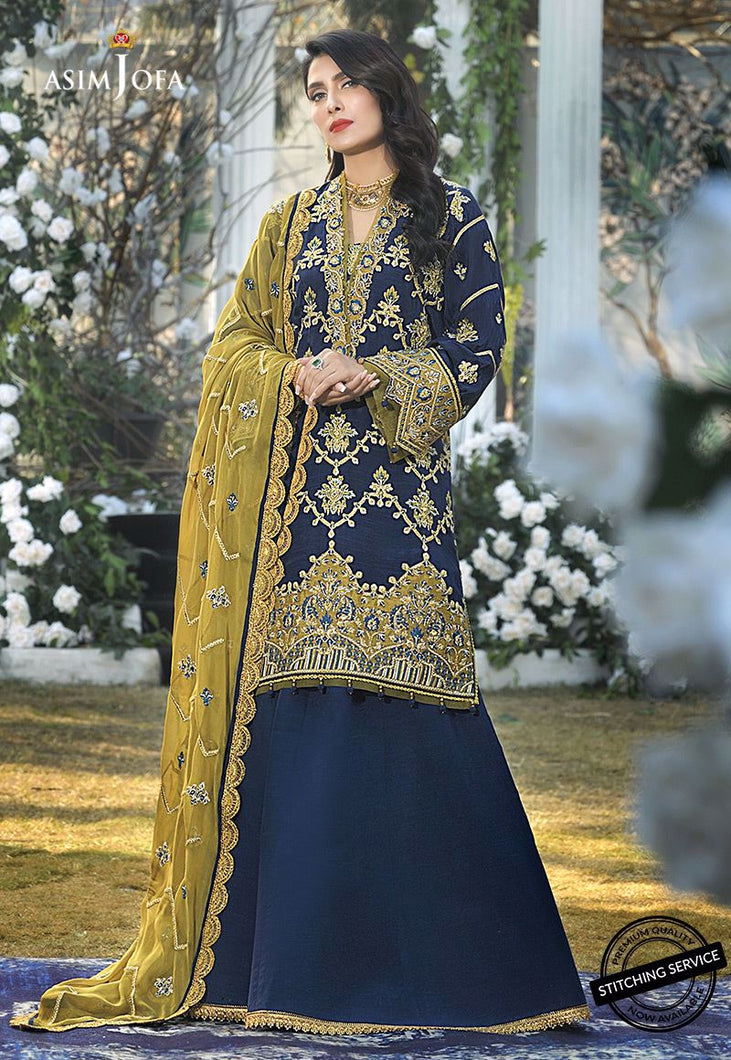 Buy ASIM JOFA MAHSA FESTIVE COLLECTION | AJMC-03 Pakistani Chiffon Wedding dresses exclusively from lebaasonline website. We are largest stockists of Asim Jofa Collection 2021  Maria B, Sobia Nazir & Pakistani Celebrities Clothes. Pakistani Branded suits are available online in the UK, USA, Scotland, London & New York.