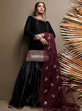Load image into Gallery viewer, Zainab Chottani Winter Velvet Collection | BLACKOUT BURGUNDY
