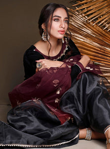 Zainab Chottani Winter Velvet Collection | BLACKOUT BURGUNDY