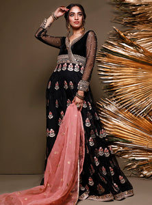 ZAINAB CHOTTANI PAKISTANI PARTY WEAR SUITS UK -Velvet- PERIDOT JET Black Chiffon, Embroidered Collection at our Pakistani Designer Dresses Online Boutique. Pakistani Clothes Online UK- SALE, Zainab Chottani Wedding Suits, Luxury Lawn & Bridal Wear & Ready Made Suits for Pakistani Party Wear UK on Discount Price