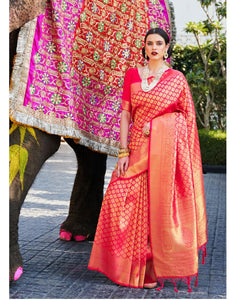 Kumbhi Silk 2020 - Red online Designer Saree Indian Bridal Saree Pure Silk on LebaasOnline