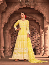 Load image into Gallery viewer, Yellow Indian Anarkali Gown by Virasat Clothing - DN1055