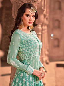 Blue Indian Anarkali Sharara by Virasat Clothing - DN1053