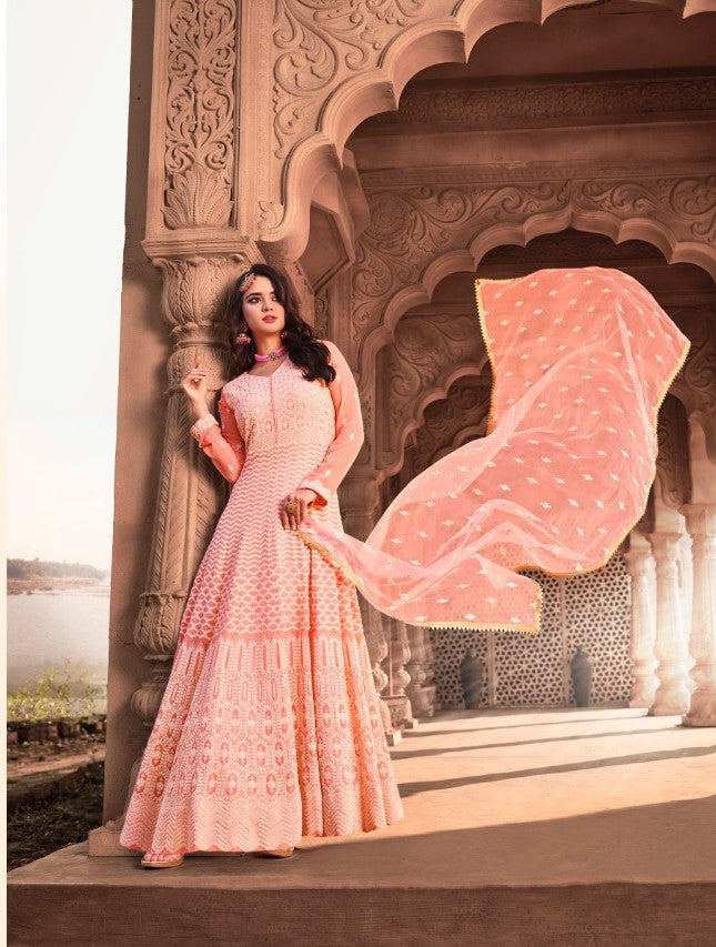Pink Indian Anarkali Gown by Virasat Clothing - DN1054