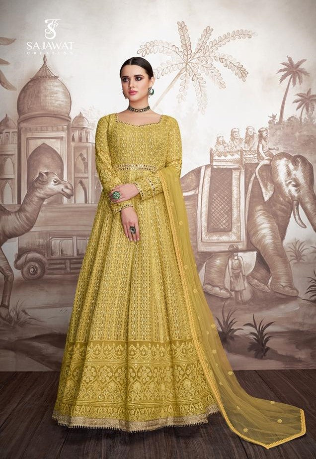 Yellow Sajawat Mekari Indian Gown - DN1004