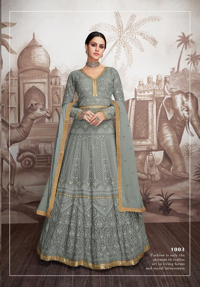 Grey Sajawat Mekari Indian Gown - DN1003