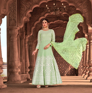 Green Indian Anarkali Gown by Virasat Clothing - DN1056