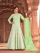Load image into Gallery viewer, Green Indian Anarkali Gown by Virasat Clothing - DN1056