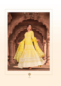 Yellow Indian Anarkali Gown by Virasat Clothing - DN1055
