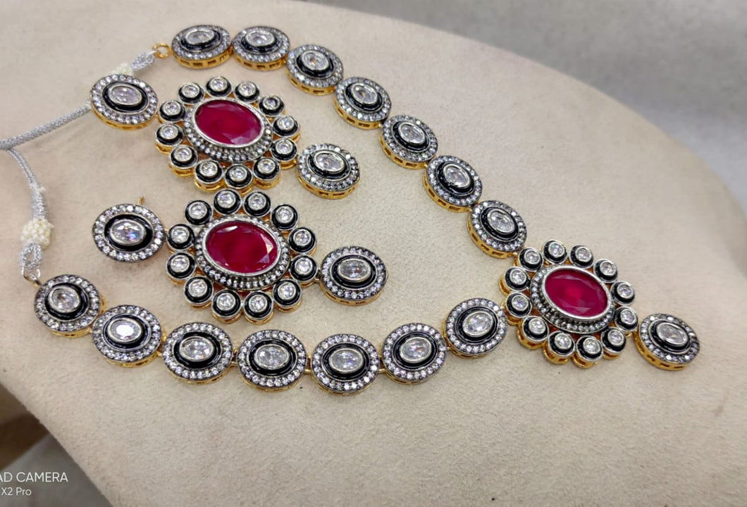 Red & Silver Indian Bridal American Diamond Set DS9