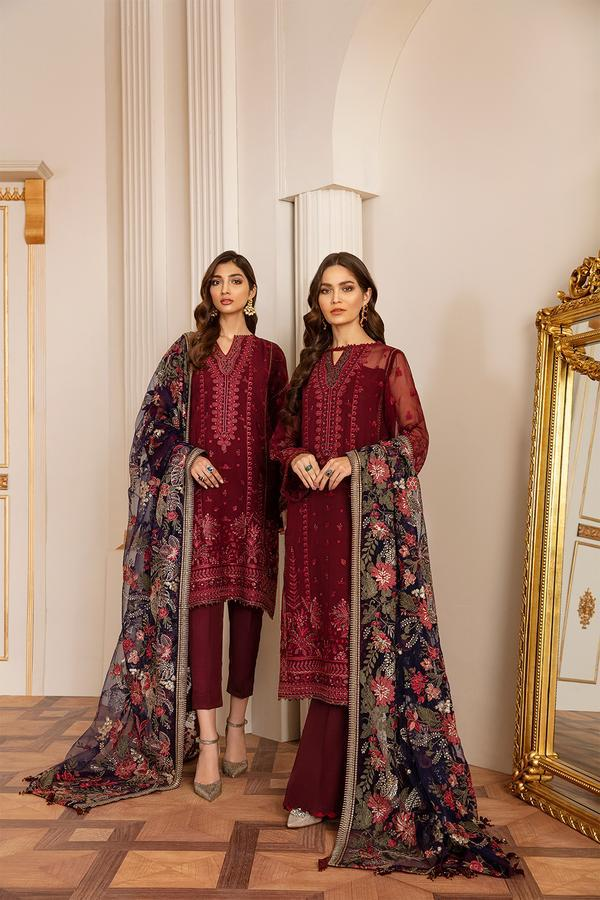 FIRE STONE - Baroque Chantelle Chiffon Pakistani Suit