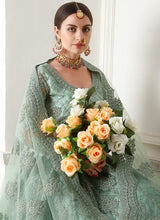 Load image into Gallery viewer, Mint Green Bridal Embroidered Lehenga by Alizeh - LebaasOnline