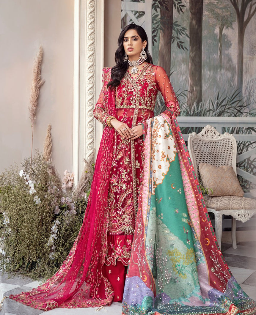 REPUBLIC WOMENSWEAR | Indian Pakistani Luxury Wedding Dresses Collection 2021 - Mariee LF 52 . Pakistani Formal Wear For Indian & Pakistani Women in the UK & USA. Exclusively designed Sharara style Gown with delicate embroidery on chiffon & silk fabric, matching dupatta is included. Available in Stitched and Unstitched