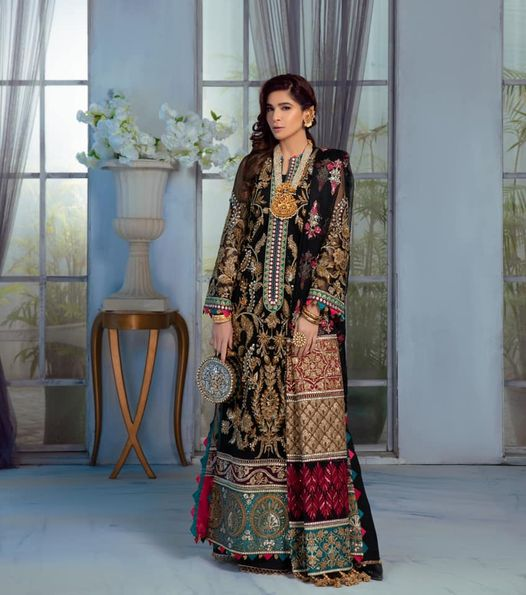MARYAM HUSSAIN Wedding Collection Meena most popular Pakistani outfits for evening wear and wedding season 2020/21 in the UK, USA and Australia. READY MADE Indian & Pakistani Bridal dresses, Embroidered & created on silk chiffon fabric. Shop Designer wedding Lehenga by Maryam Hussain on SALE price at Lebaasonline