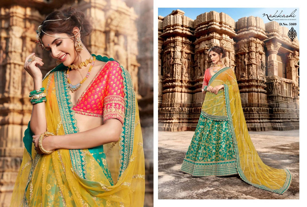 Yellow Green Lehenga by Nakkashi 2020 - LebaasOnline